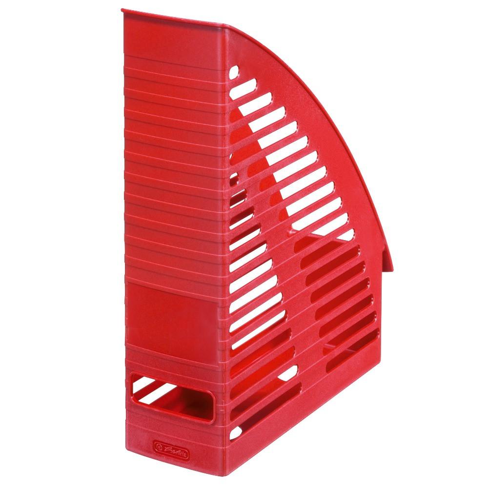 Лоток для бумаг вертикальный Herlitz 8см Round красный (1609528)
