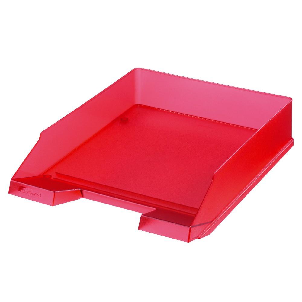 Лоток для бумаг горизонтальный Herlitz Classic Transparent красный полупрозрачный (10653814)