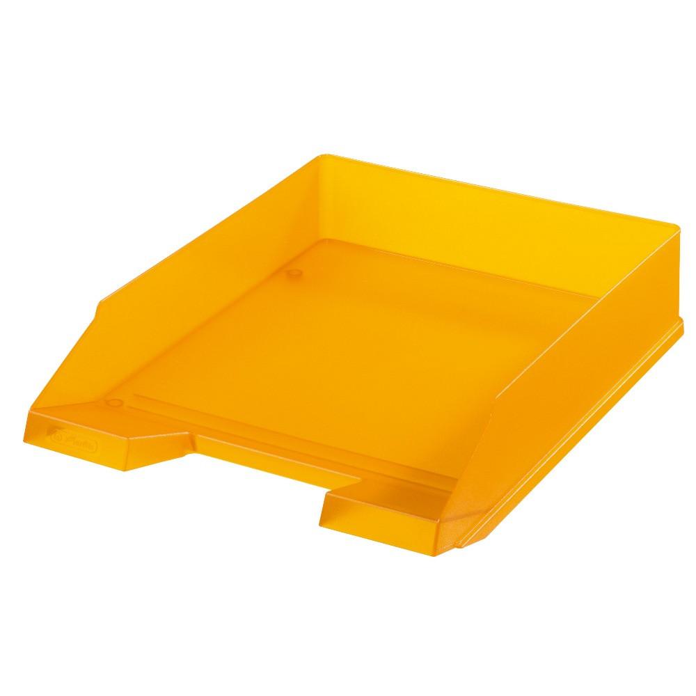 Лоток для бумаг горизонтальный Herlitz Classic Transparent оранжевый полупрозрачный  (10074128)