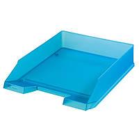 Лоток для бумаг горизонтальный Herlitz Classic Transparent голубой полупрозрачный (10074136)
