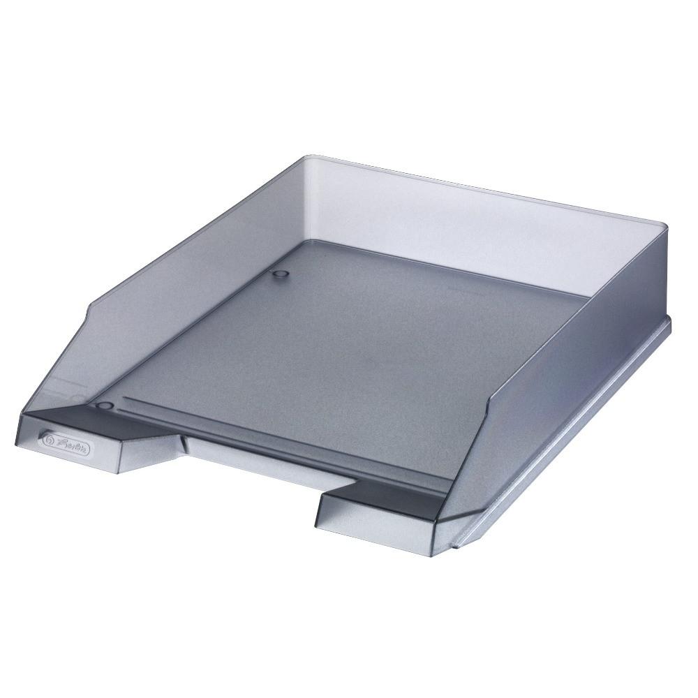 Лоток для бумаг горизонтальный Herlitz Classic Transparent серый полупрозрачный (10074144)