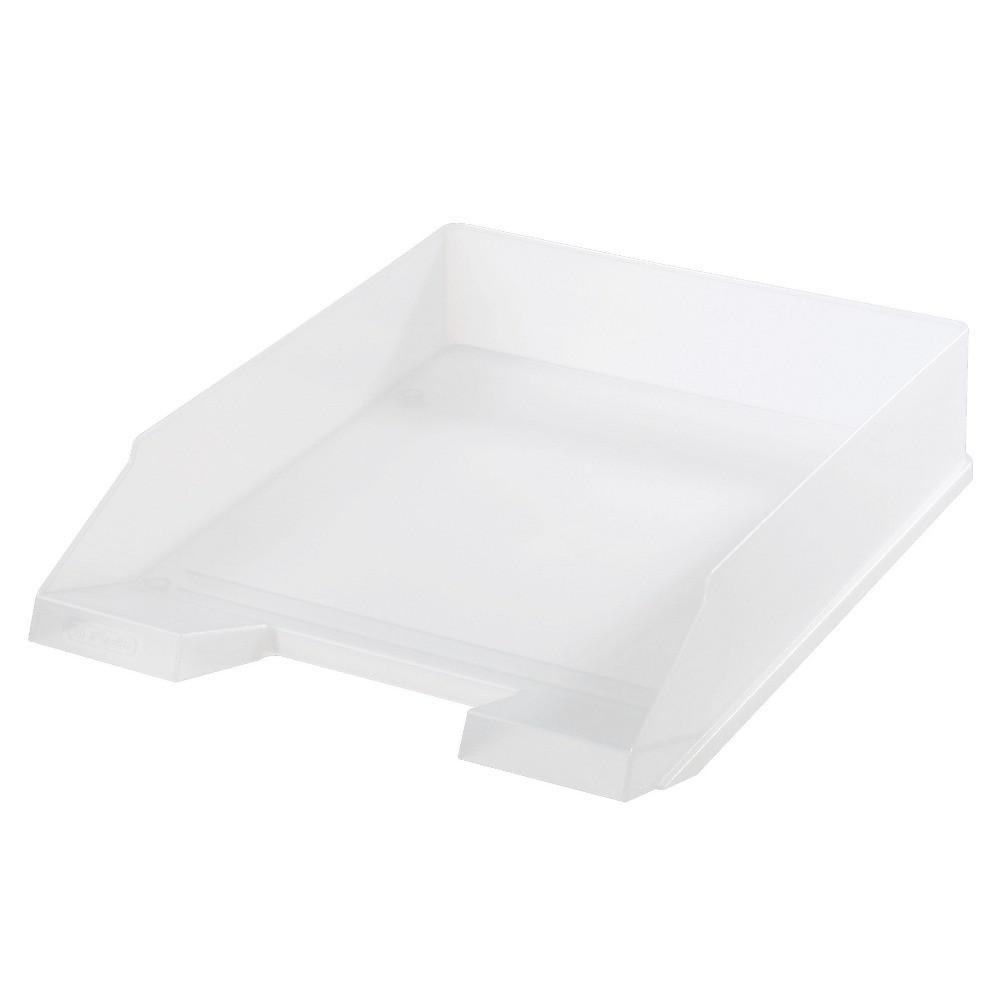 Лоток для бумаг горизонтальный Herlitz Classic Transparent белый полупрозрачный (10167401)