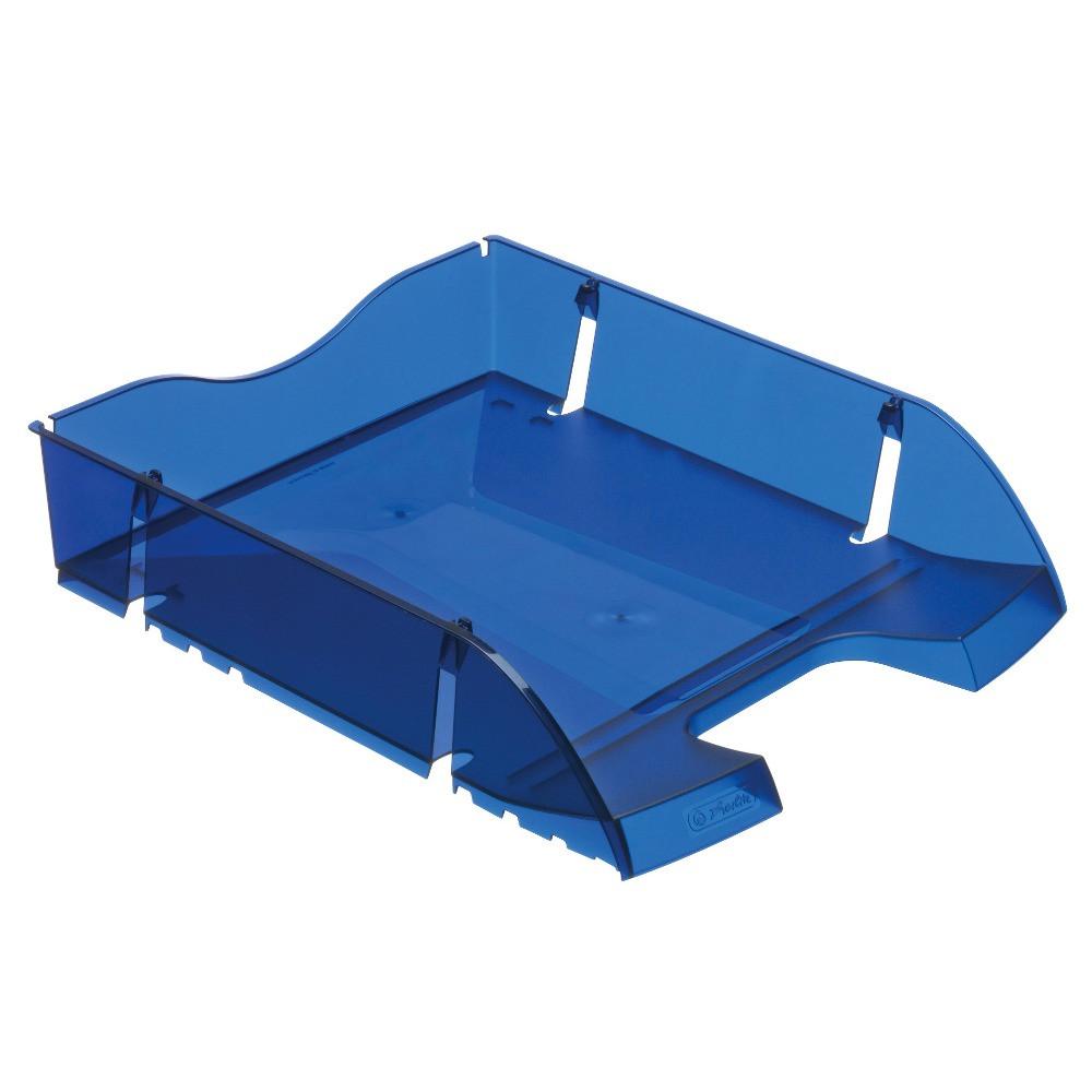 Лоток для бумаг горизонтальный Herlitz Space R-PET Transparent синий полупрозрачный (11247244)