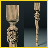 Ножка для стола, консоли из дерева круглая с квадратным основанием. С цветами и каннелюрами. 750 мм.