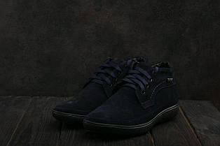 Ботинки мужские Vankristi 928 синие (замша, зима)