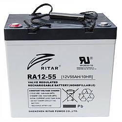Аккумуляторная батарея AGM RITAR RA12-55, Gray Case, 12V 55.0Ah ( 229 x 138 x 211 (216) ) Q1