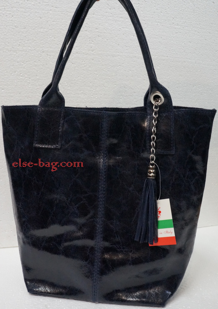 Кожаная сумка- мешок синяя мраморная