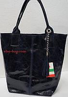 Кожаная сумка- мешок синяя мраморная, фото 1