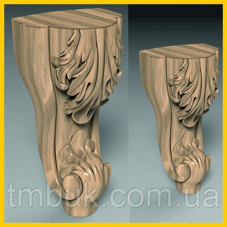 Ножка гнутая с лепестками деревянная резная. Для шкафов, тумб, комодов, деревянной мебели. 200 мм., фото 2