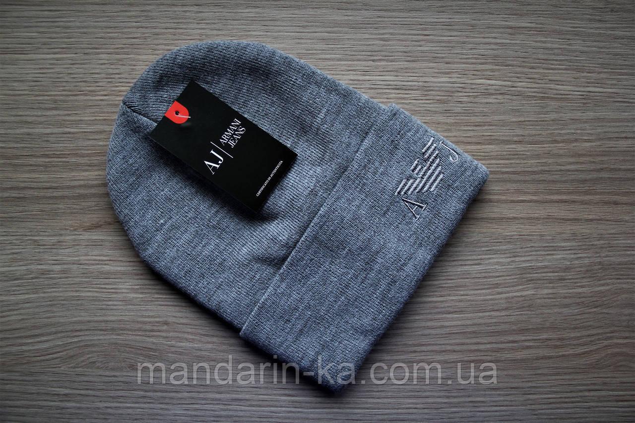 Серая мужская зимняя шапка реплика