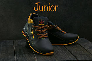 Кроссовки CrossSAV 39 (Adidas) (зима, подростковые, кожа, черно-рыжий)