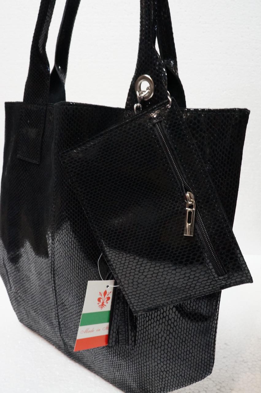 Кожаная сумка- мешок черная