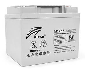 Аккумуляторная батарея AGM RITAR RA12-45, Gray Case, 12V 45.0Ah (198 x 166 x169 ) Q1