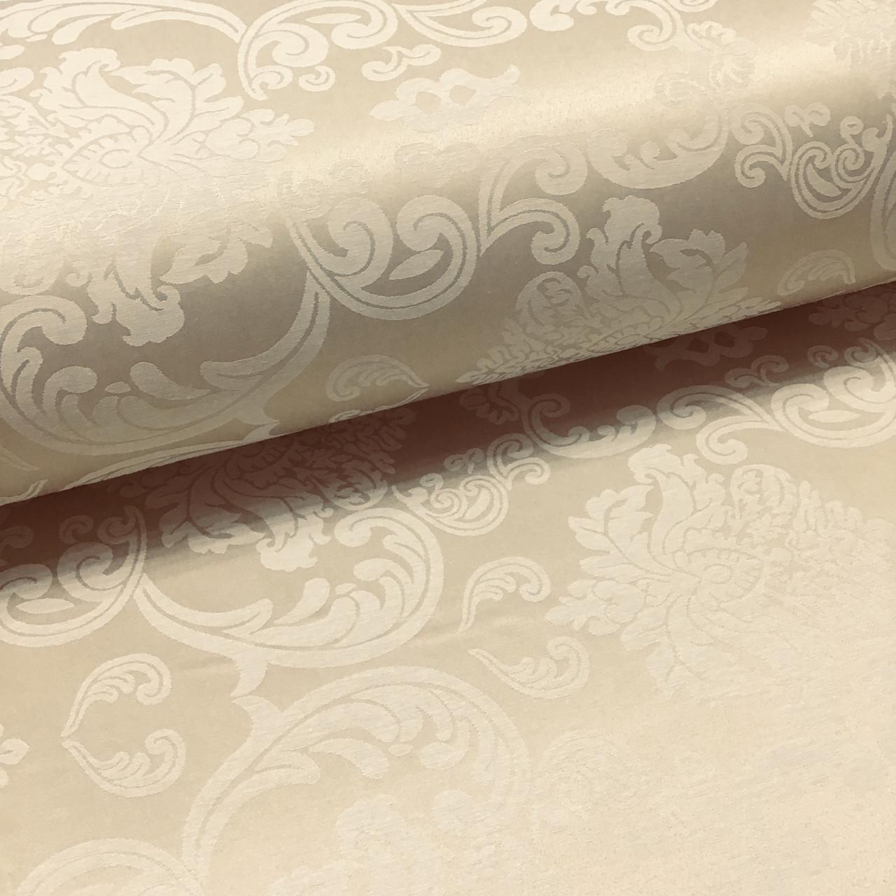 Ткань сатин с рисунком, дамаск крупный бежевый (ТУРЦИЯ шир. 2,4 м)