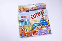 """Альбом для рисования """"Drive"""" и """"Winx"""" №3685-LF A-5 на спирали, 12 карандашей,товары для творчества"""