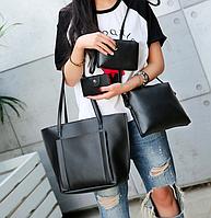 Сумка женская большая набор сумка через плечо Sharon Черный, фото 1