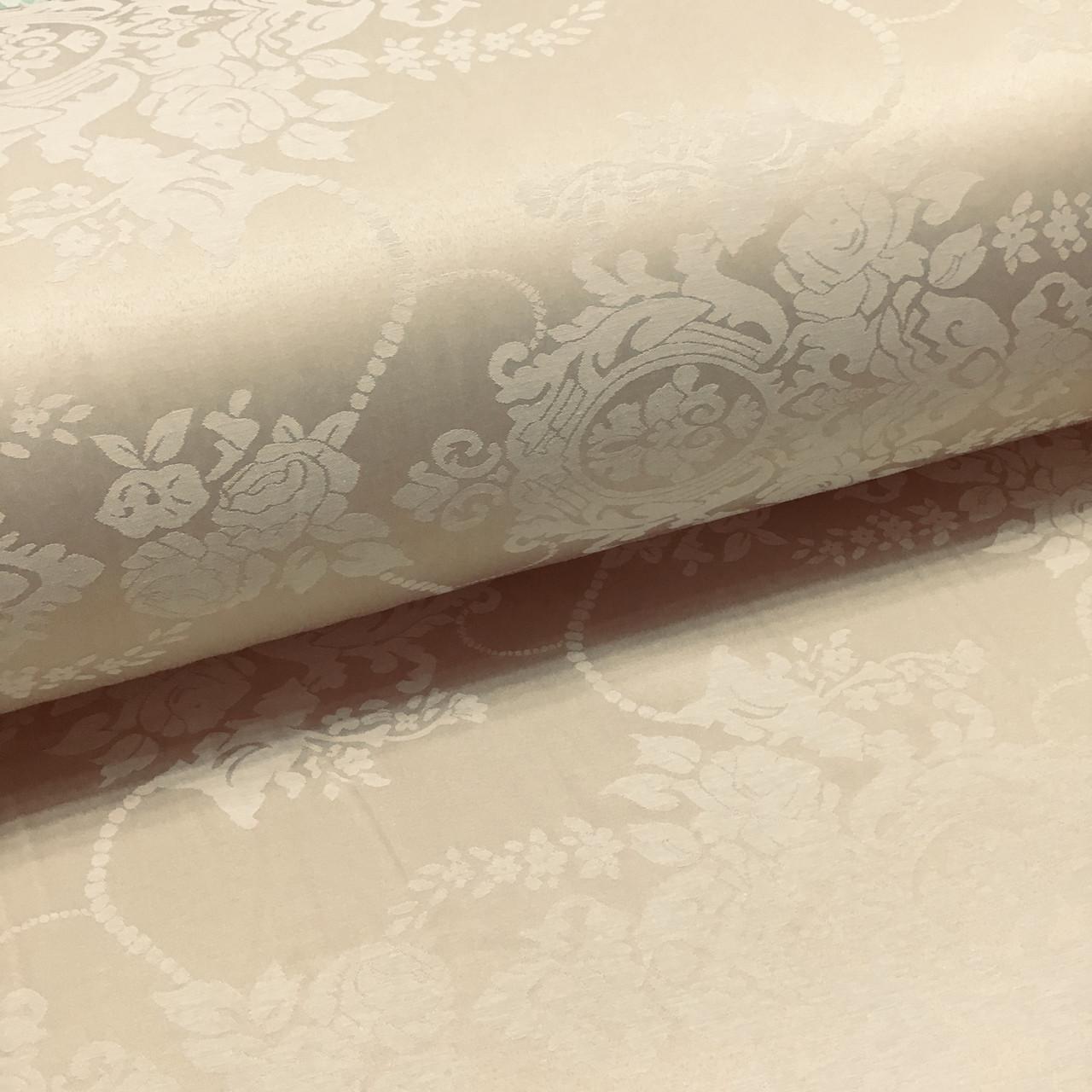 Ткань сатин с рисунком, цветы светло-бежевые на бежевом (ТУРЦИЯ шир. 2,4 м)
