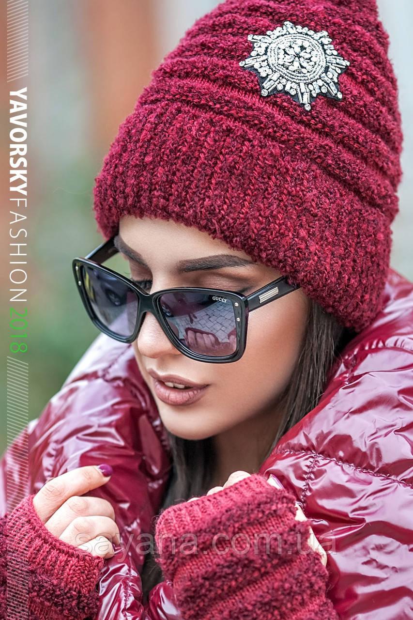 Женский набор: шапка и митенки в расцветках. ВС-8-1118 (223)