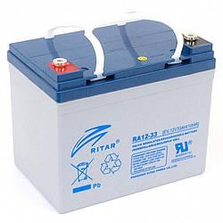 Аккумуляторная батарея AGM RITAR RA12-33, Gray Case, 12V 33.0Ah ( 195 x 130 x155 (168) ) Q1