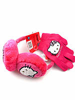 Розовые наушники и перчатки для девочки с Hello Kitty