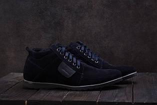 Ботинки мужские Vankristi 940 синие (замша, зима)