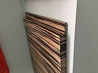 Мебельный фасад шпонированный с интегрированной ручкой. Шпон Зебрано Бянко, фото 1