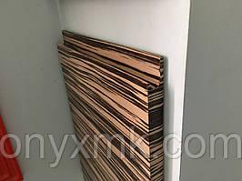 Мебельный фасад шпонированный с интегрированной ручкой. Шпон Зебрано Бянко