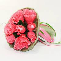 Букет из конфет Розы 15 Рафаэлло коралловые, фото 1