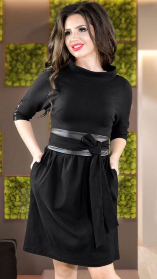 b7999fb9a6d Женское стильное чёрное мини платье ( трикотаж