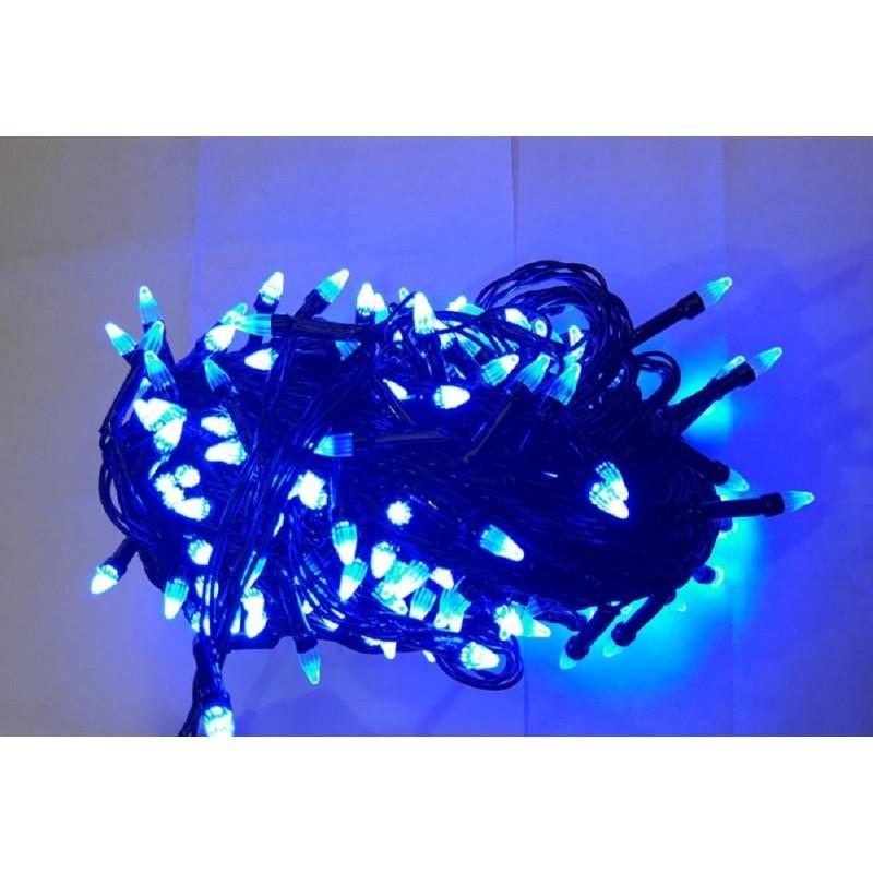 Гирлянда елка 200 LED 16м синяя на черном проводе