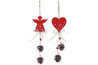 Новогоднее украшение с декором 33см, 2 вида - Сердце и Ангел