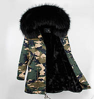 Женская зимняя куртка Парка на подстежке из натурального меха