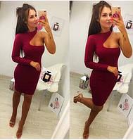 Женское коктельное бордовое мини платье на одно плечо. Ткань. Креп-дайвинг., фото 1