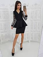b6f43e3370b Комплект  Черная юбка карандаш и черная блузка на запах с рукавами из сетки  с вышивкой