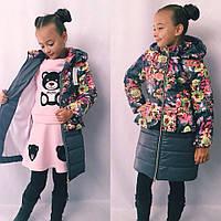 Красивое детское пальто для девочки на молнии с капюшоном на флисе