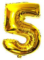 Шар Воздушный Фольгированный Шарик Надувной Цифра 5 пять пятерка золотая 86см  Шары 008860