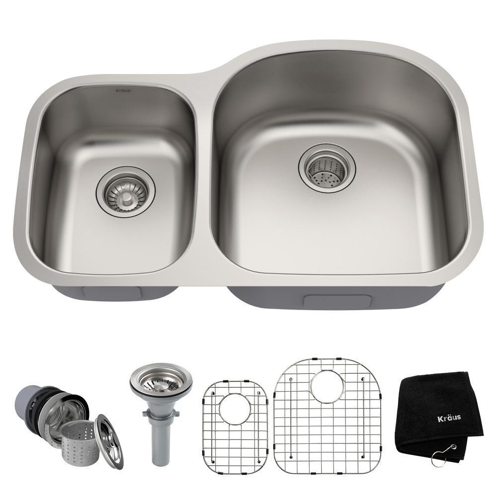 Кухонна мийка з двома чашами Kraus KBU25