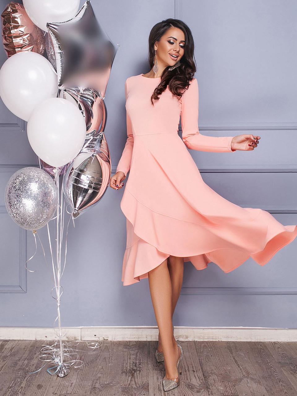 Платье цвета пудры с юбкой на запах