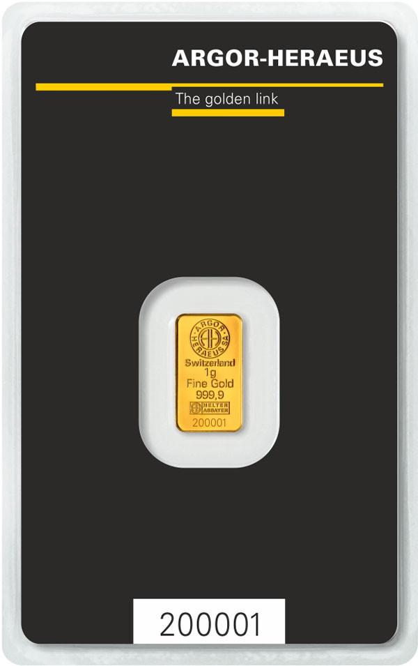Слиток золота 1 грамм Argor-Heraeus (НОВЫЙ)