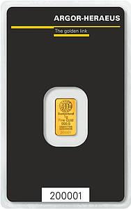 Слиток золота 1 грамм Argor-Heraeus