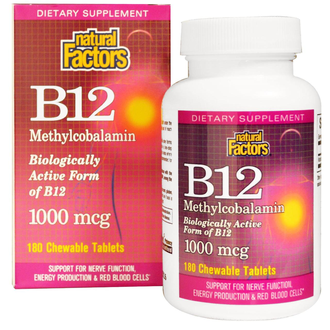 Natural Factors, B12 метилкобаламин, 1000 мкг, 180 жевательных таблеток