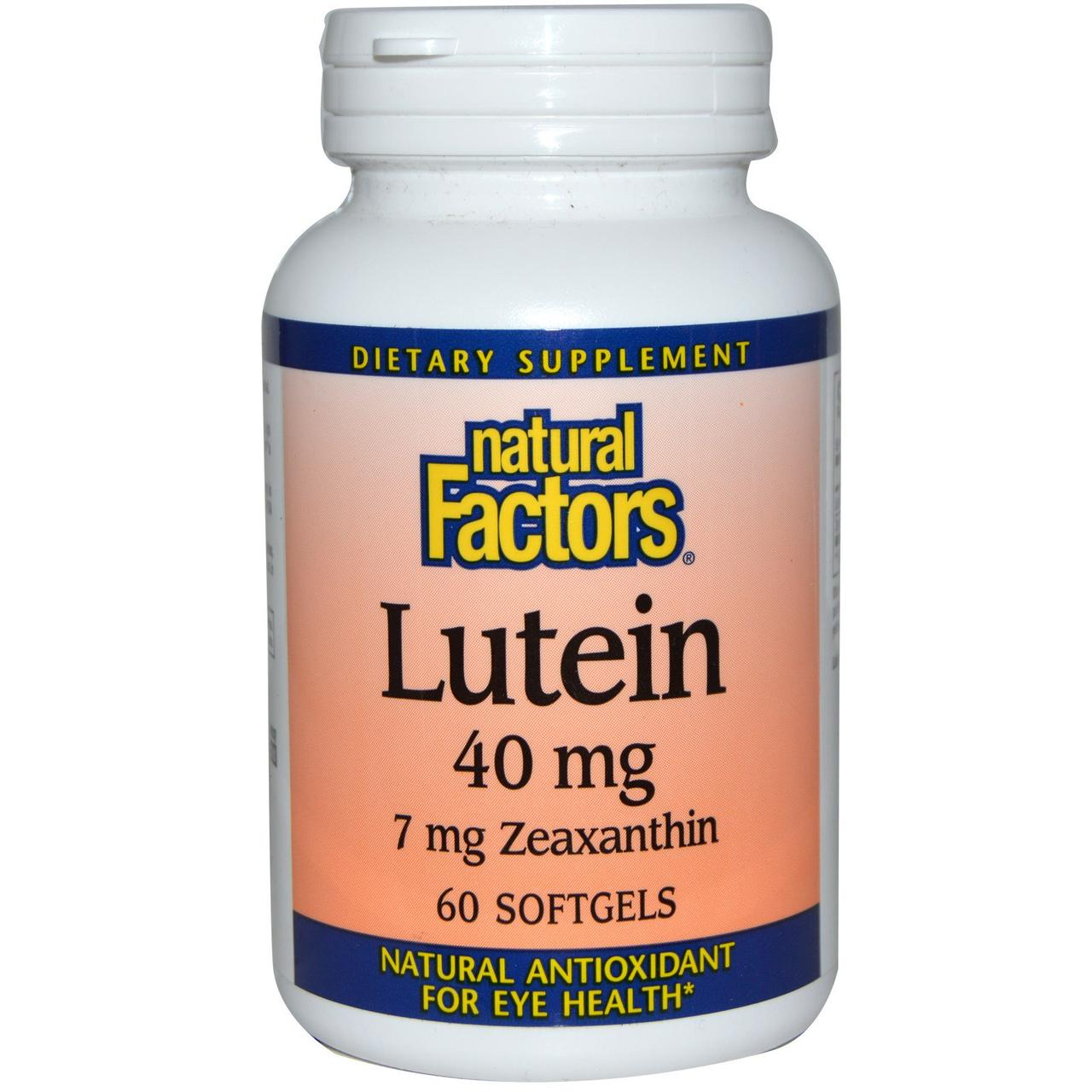 Natural Factors, Лютеин, 40 мг, 60 гелевых капсул