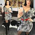 Платье мини ангора на запах с принтом , фото 2
