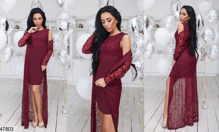 Красивое платье двойка короткое облегающее без рукав накидка длинная кружевная бордовое, фото 2