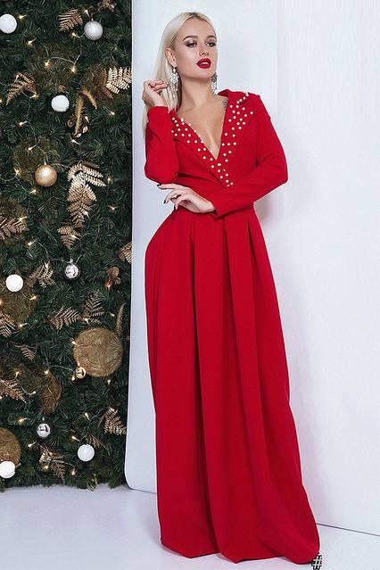 Вечернее платье макси с длинным рукавом 41591 (40–46р) в расцветках, фото 1