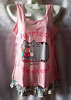 Пижама с котами/ мороженым коттоновая женская (шорты+майка) (M/46), фото 1