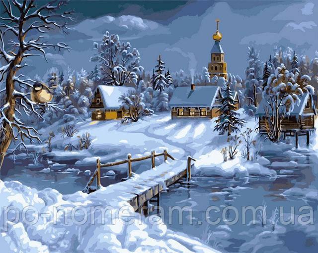 Зимний пейзаж раскраска по цифрам