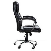Кресло компьютерное офисное на прорезиненных колесиках Aston черный, фото 3