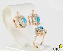 Комплект серёжки и кольцо из золота