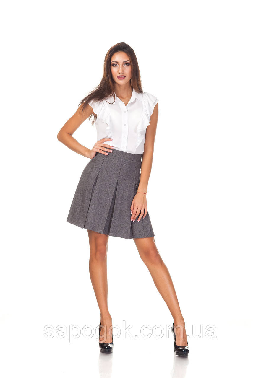 Классическая женская юбка со складками. Ю097